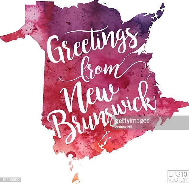 ニューブランズウィックベクトル水彩図からの挨拶 - ニュージャージー州ニューブランズウィック点のイラスト素材/クリップアート素材/マンガ素材/アイコン素材
