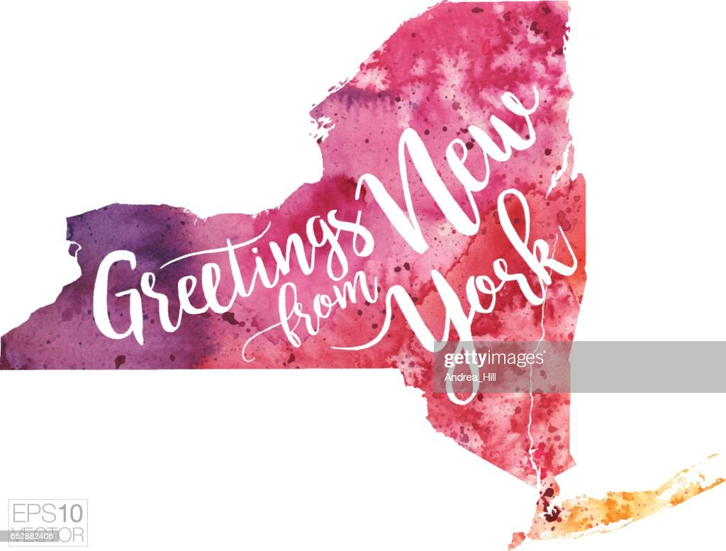 Greetings from new york vector watercolor map vector art getty images greetings from new york vector watercolor map vector art kristyandbryce Images