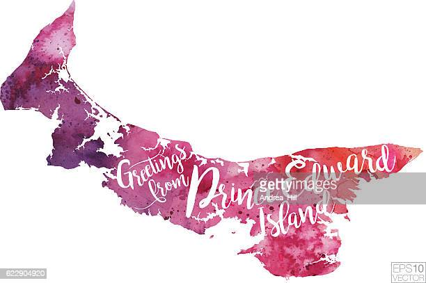 greetings from nova scotia vector watercolor map - cape breton island stock illustrations, clip art, cartoons, & icons