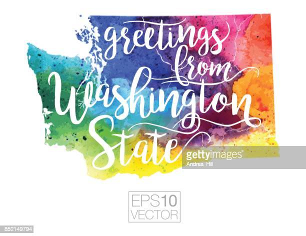 Greetings from Washington State Vector Watercolor Map