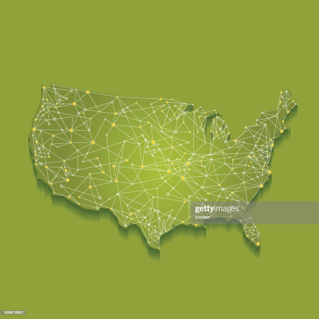 USA gren map on with connection network