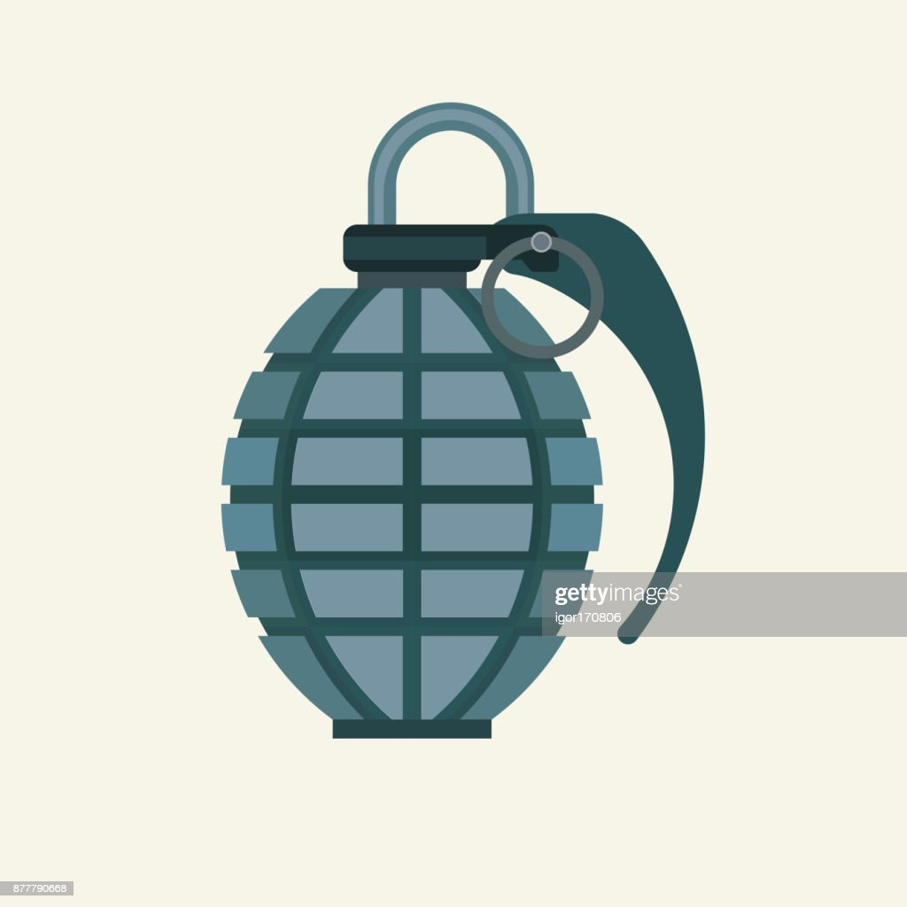 Grenade icon in flat color style. Military army explosive fragme