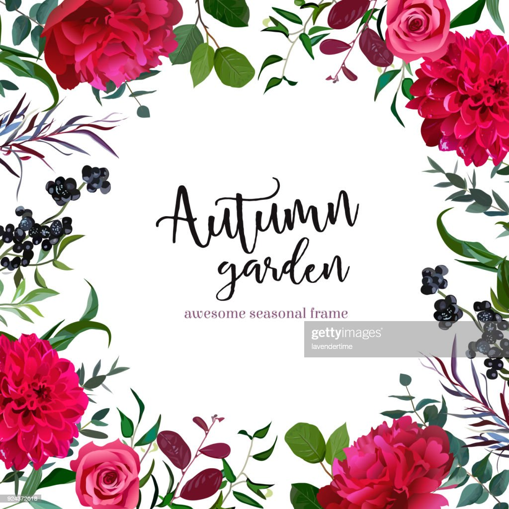 Grenery mix square vector frame with burgundy red flowers