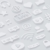 Grey 3d background with social network symbols.