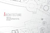 Grey abstract background. Architectural theme. Working drawings