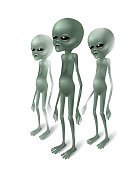 Grey aliens. Three aliens isolated on white background.