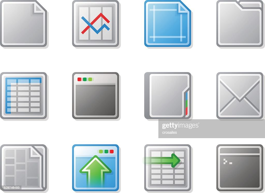 Grey and Blue Plastic Look Web Icons with Gradient Fill : stock illustration