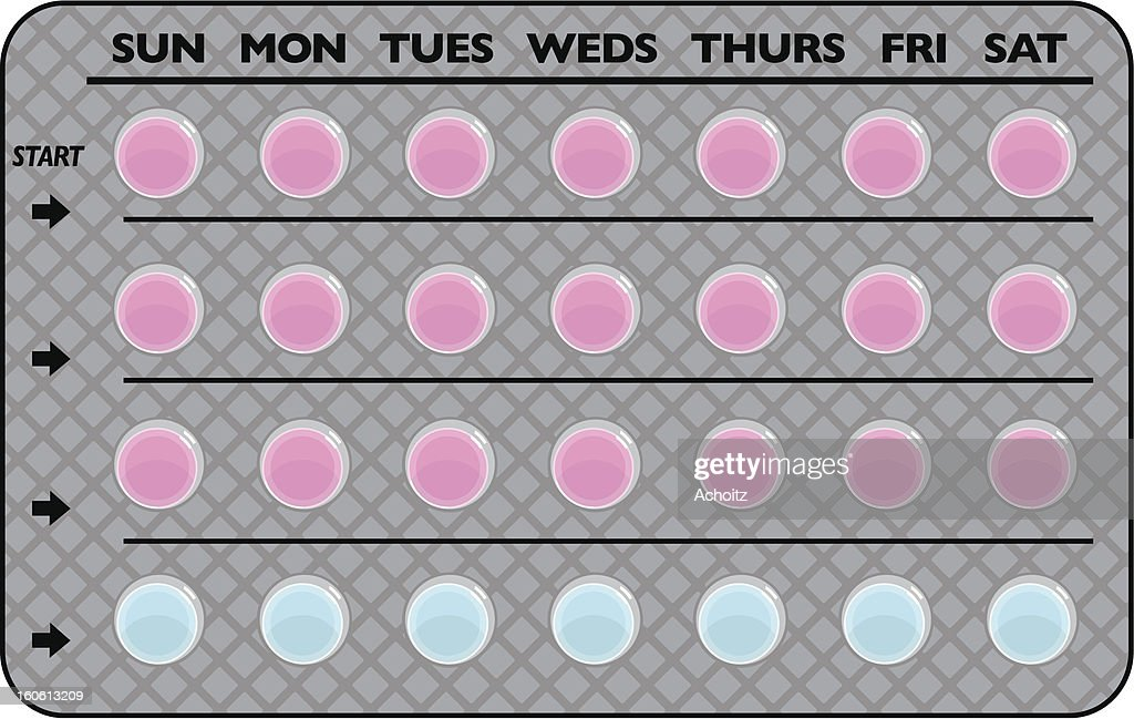 Grey and pink simple illustration of birth control pills