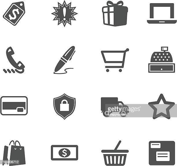 Grey and white shopping symbol illustrations