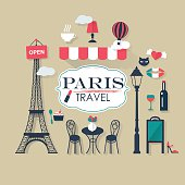 grey background Paris tourist concept image. Flat vector french icons.