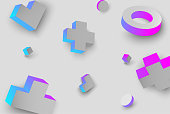 Grey background with colour 3d geometric figures.