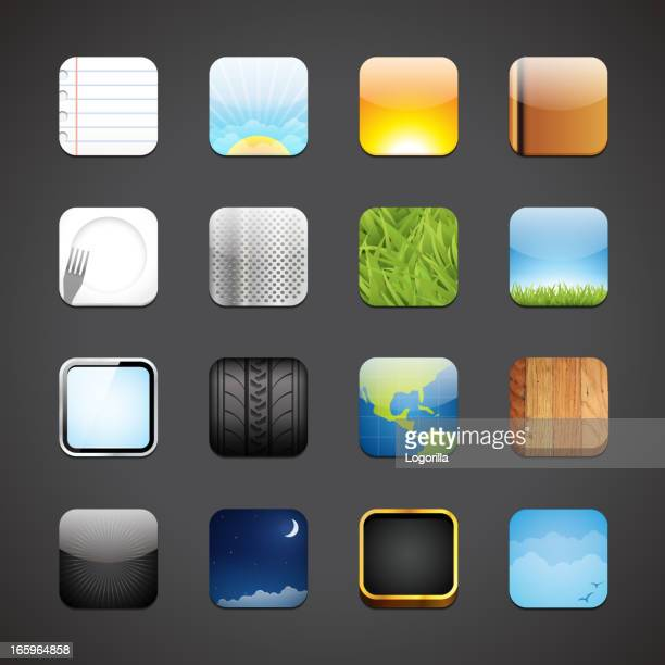 Grey background with icons for various apps in rows of four