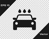 Grey Car wash icon isolated on transparent background. Carwash service and water cloud icon. Vector Illustration
