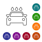 Grey Car wash line icon isolated on white background. Carwash service and water cloud icon. Set icon in color circle buttons. Vector Illustration