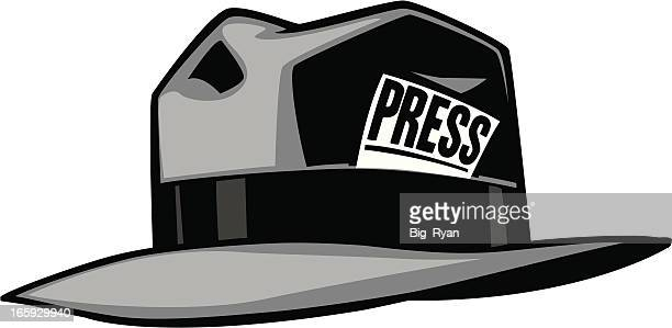 Grey cartoon hat with the word press