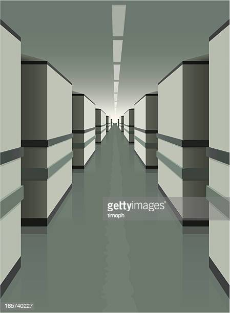 grey corridor - corridor stock illustrations, clip art, cartoons, & icons