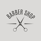 Grey emblem barber shop, vector illustration.