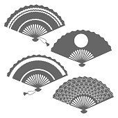 Grey fans silhouettes on white backdrop