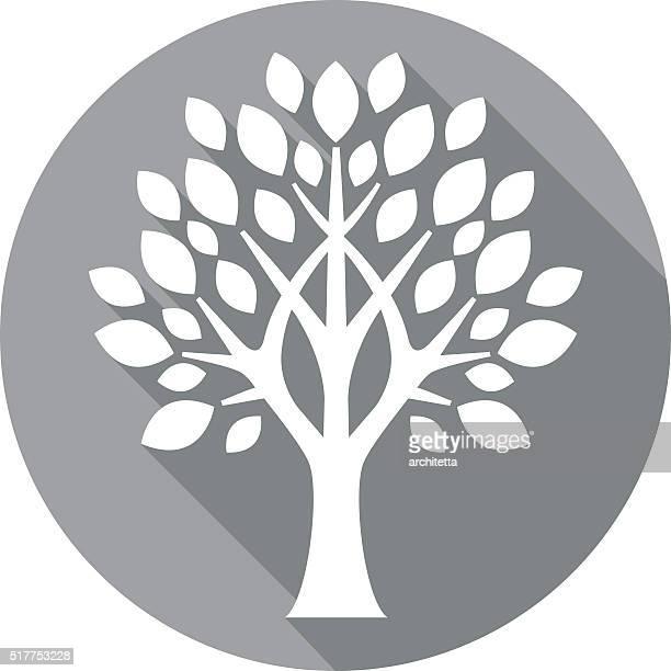 灰色フラットアイコンの木