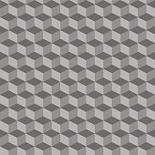 Grey geometric seamless cubes pattern background. Vector