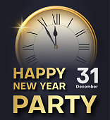 Grey Happy New Year party poster or invitation with golden clock.
