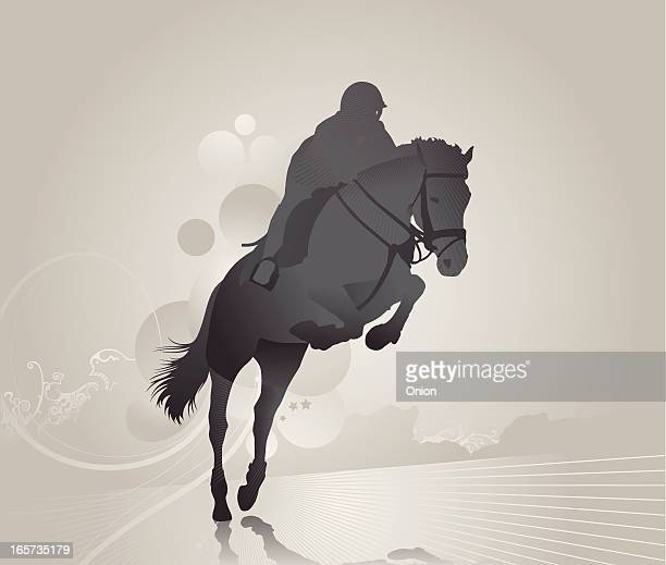 Grey image of a jockey on a jumping horse on abstract land