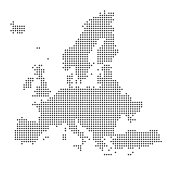 Grey Map Europe In The Dot. Vector illustration