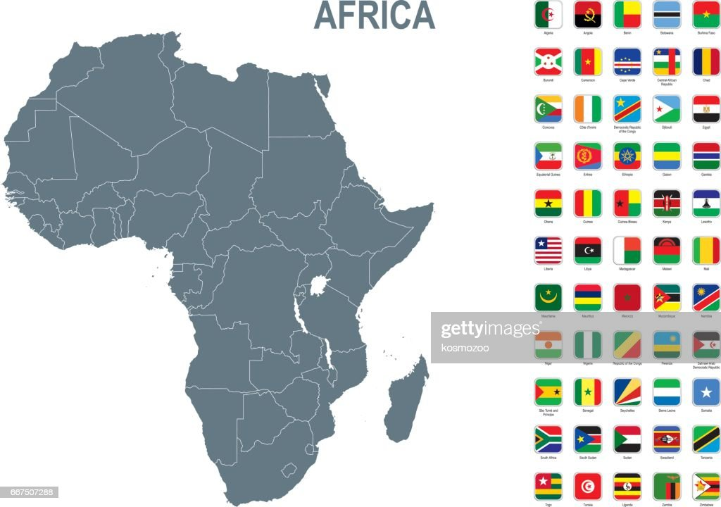 Grey map of Africa with flag against white background : Stock Illustration