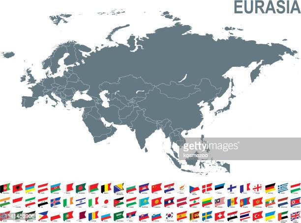graue karte von eurasien mit fahne vor weißem hintergrund - iran stock-grafiken, -clipart, -cartoons und -symbole