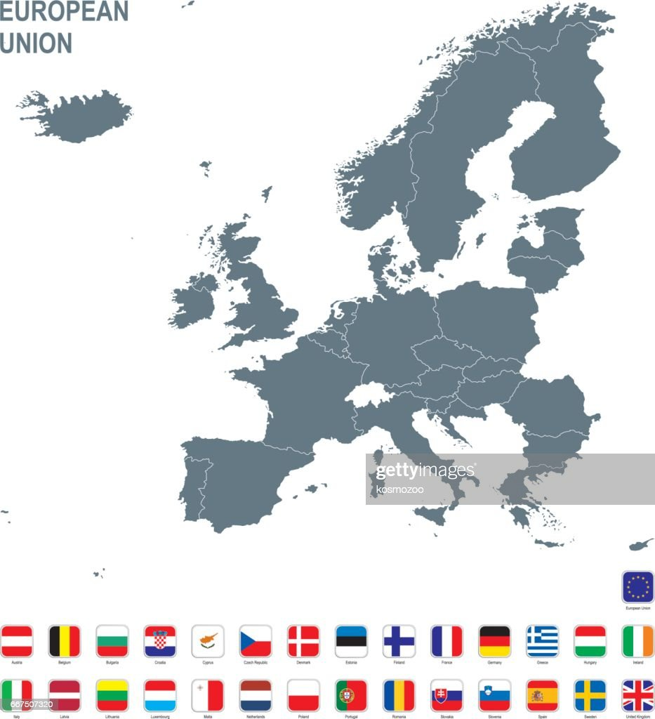Grey Map Of European Union With Flag Against White