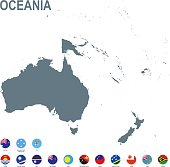 Grey map of Oceania with flag against white background