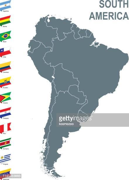 ilustraciones, imágenes clip art, dibujos animados e iconos de stock de mapa gris de sudamérica con bandera contra fondo blanco - islas malvinas