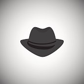 Grey men's vintage hat with a brim. The headdress is in the style of the mafia.