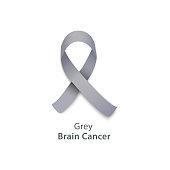 Grey ribbon for brain cancer awareness charity event