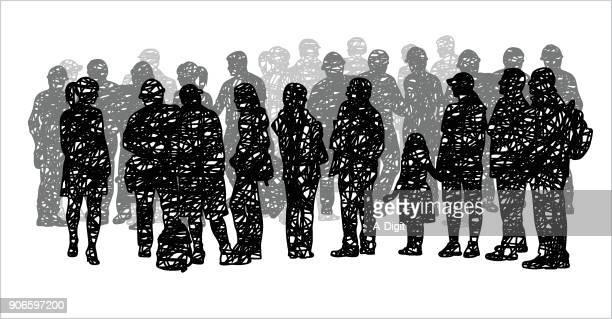 grey scribble silhouette masse - große personengruppe stock-grafiken, -clipart, -cartoons und -symbole
