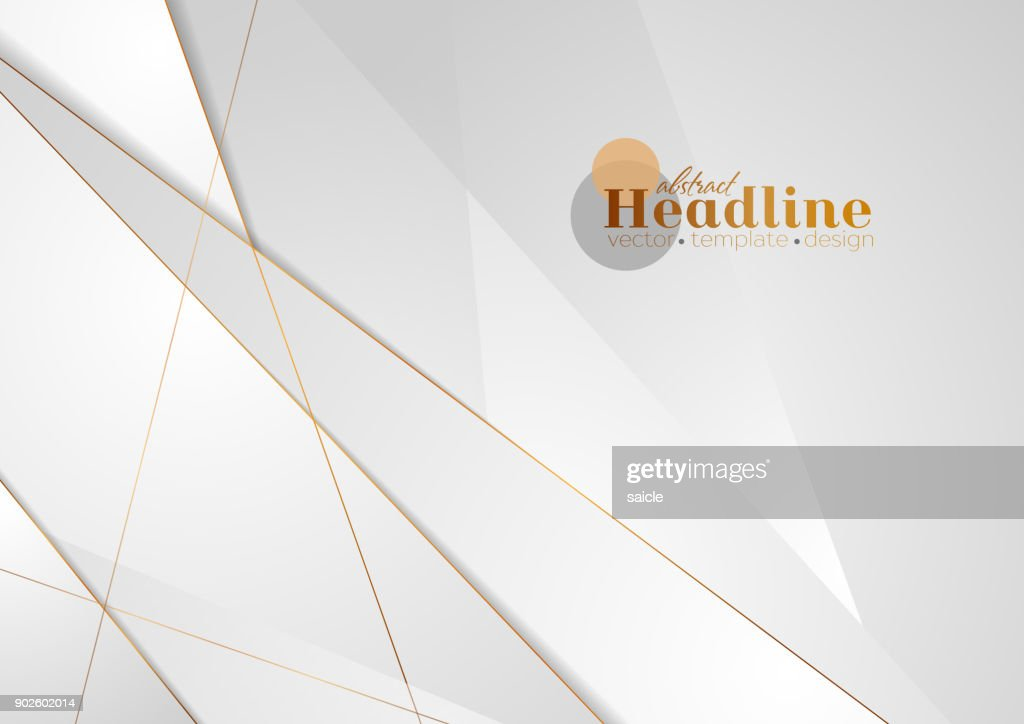 Grey silver abstract luxury background with bronze outlines