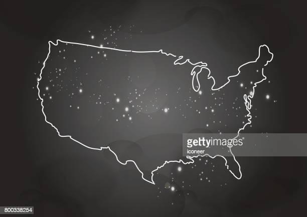 Karte der USA grauen Raum blau auf dunklem Hintergrund