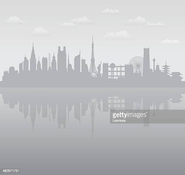 grey tokyo - tokyo japan stock illustrations, clip art, cartoons, & icons