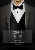 Grey tuxedo with black bow tie