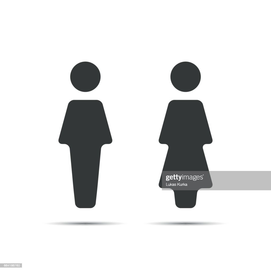 Grey WC icon, toilet icon, men and women sign for restroom, vector illustration isolated on a white background
