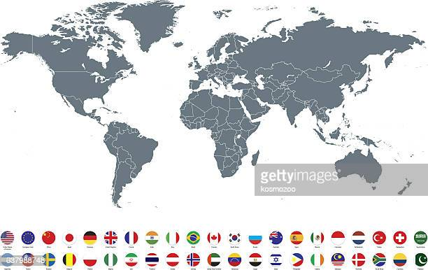 grey world map with most popular flags against white background - land stock-grafiken, -clipart, -cartoons und -symbole