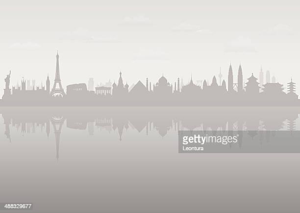 grau welt skyline (, beweglichen gebäude) - russland stock-grafiken, -clipart, -cartoons und -symbole