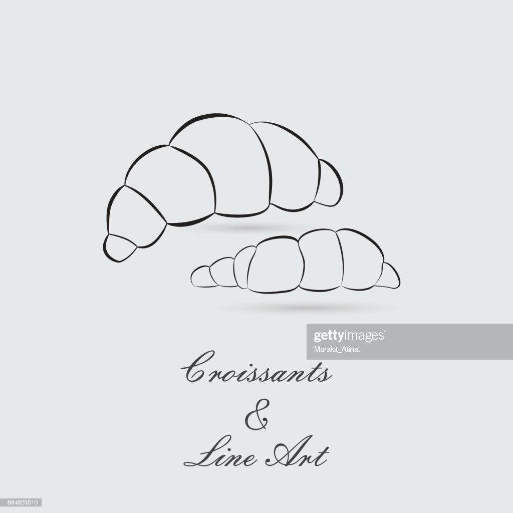 Greyscale Icons of Croissants