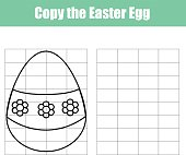 Grid copy game. Draw the picture educational children game. Printable Kids activity sheet with easter egg