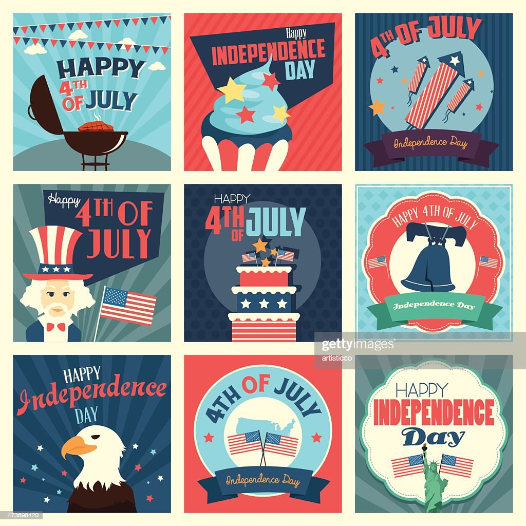 Grid of 9 July 4th icons in patriotic colors