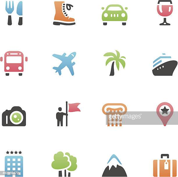 Grid of icons associated with vacation