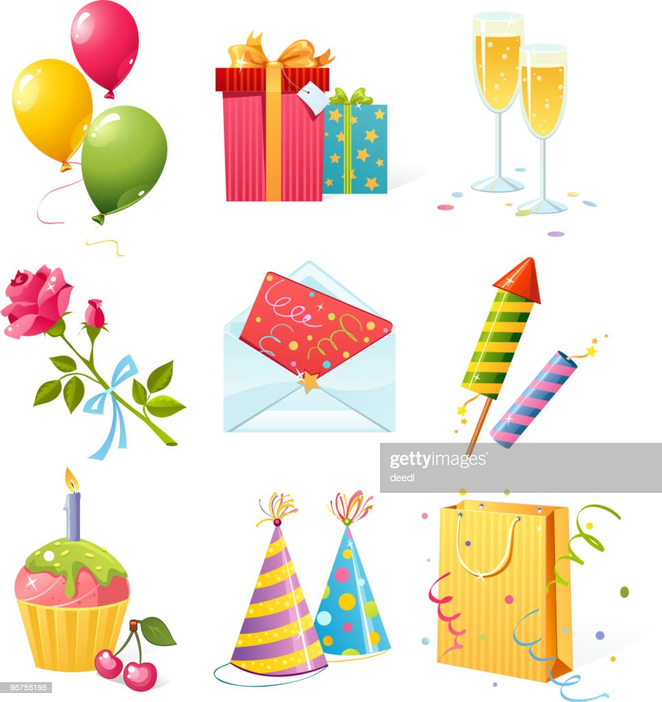 Grid of nine icons involving birthday parties