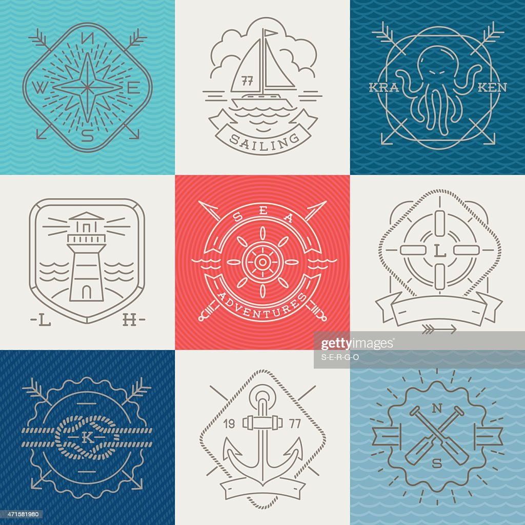 Grid set of nautical and adventure icons