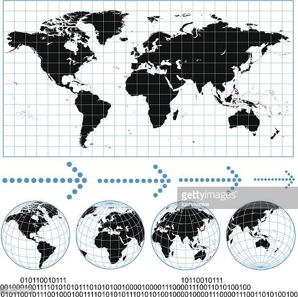 gridded world map and wireframe globes