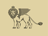Griffin, a lion in the crown with wings in the style of engraving of linear design for a premium sing or coat of arms. Lion with a crown symbol of power, strength, security.